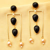 Imeora Tripple Black Stone Fashion Earrings With Cream Shell Pearl Hangings
