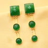 Imeora Dark Green Stone Fashion Earrings