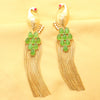 Imeora Peacock Fashion Earring With Green Stones
