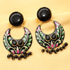 Imeora Black Half Moon Shape Earrings
