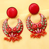 Imeora Red Half Moon Shape Earrings