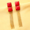 Imeora Double Red Stone Long Earrings