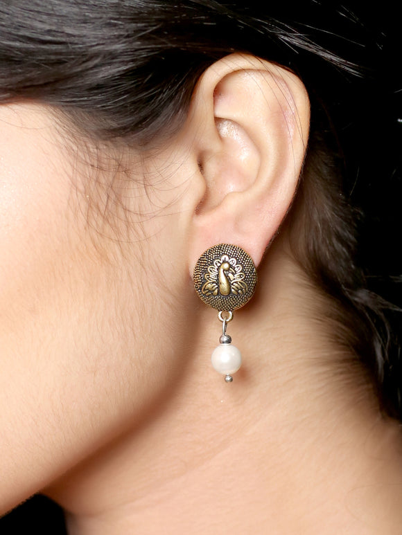 Imeora Golden Tone Peacock With Shell Pearl Earrings