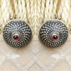 925 Silver Antique Look Stud With Ruby Red Center