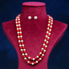 Imeora Red Cream 8mm Double Line Shell Pearl Necklace With 10mm Cream Shell Pearl Studs