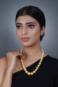 Imeora Exclusive Knotted Graduation Golden Shell Pearl Necklace