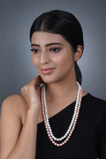 Imeora White Pink 8mm Double Line Shell Pearl Necklace With 10mm White Shell Pearl Studs