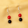 Red Shell With Black Agate Earring