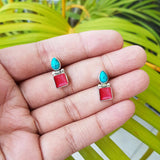 925 Silver Coral Turquoise Small Studs