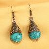 Imeora Oxidised Silver Turquoise Cone Shape Earrings