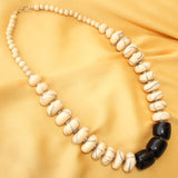 Imeora White-Black Disc Shaped Beads Necklace Set With Earrings For Women/Girls - Casual/Party Wear