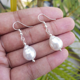 White Pearl Dangle Earrings