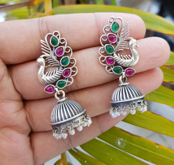 925 Silver Multicolor Peacock Earrings With Jhumki
