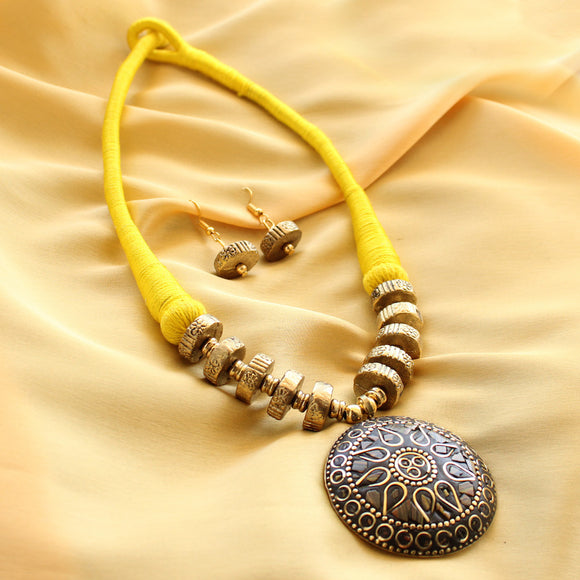 Imeora Handcrafted Tribal Yellow Thread Necklace Set With Earrings