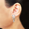 925 Silver Zircon Leaf Earrings