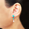 925 Silver Turquoise Coral Red Studs With Pearl Hanging