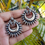 925 Oxidised Silver Tribal Big Earrings