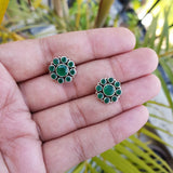 925 Silver Green Onyx Floral Studs