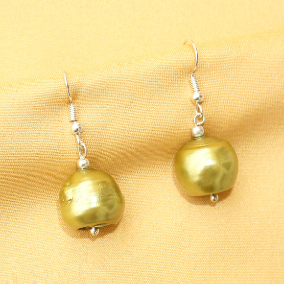 Imeora Parrot Green Baroque Pearl Earrings