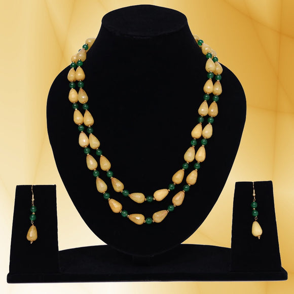 Imeora Yellow Green Double Line Necklace Set