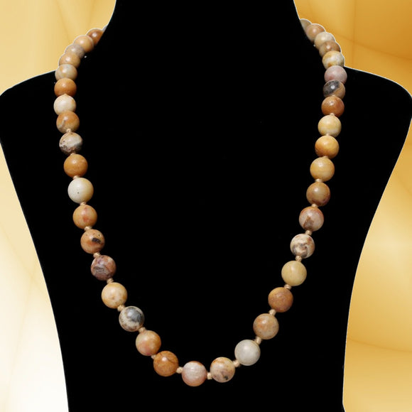 Imeora Hand Knotted 10mm Yellow Jasper Stone Necklace