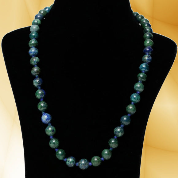 Imeora Hand Knotted 10mm Azurite Stone Necklace