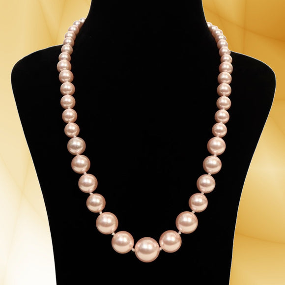 Imeora Exclusive Knotted Graduation Metallic Pink Shell Pearl Necklace