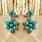 925 Silver Exclusive Turquoise Stud With Turquoise Flower Hanging