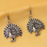 Imeora Oxidised Silver Peacock Earrings