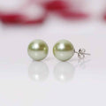 Imeora Green Reddish Pink 8mm Double Line Shell Pearl Necklace With 10mm Green Shell Pearl Studs