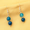Imeora Knotted Light Blue 10mm Agate Necklace With 8mm Earrings