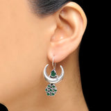 925 Silver Half Moon Green Onyx Flower Earrings