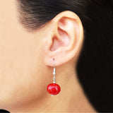 Imeora Metallic Red Egg Shape Shell Pearl Earrings