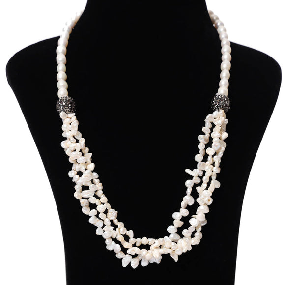 Imeora Twin Ball Fresh Water Pearl Bunch Necklace