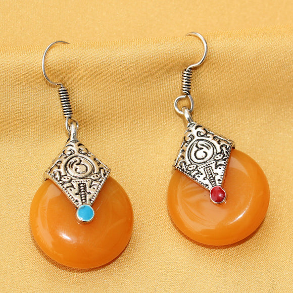Imeora Oxidised Silver Orange Drop Earrings