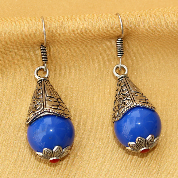 Imeora Oxidised Silver Blue Cone Shape Earrings