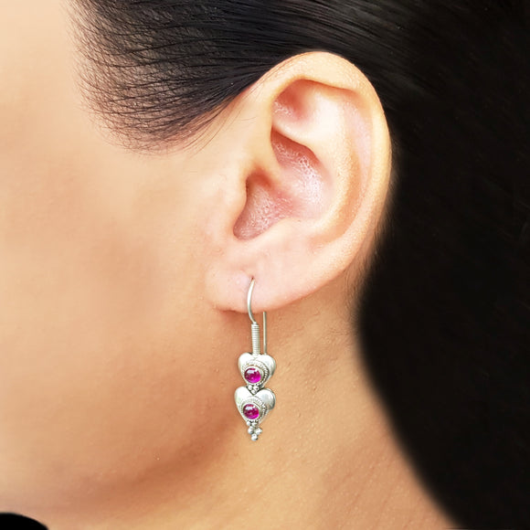 925 Silver Dual Heart With Ruby Red Center Earrings