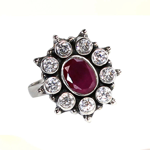 925 Silver Zircon Ring With Ruby Red Center