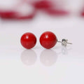 Imeora White Red 8mm Double Line Shell Pearl Necklace With 10mm Red Shell Pearl Studs