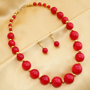 Imeora Red Beads Fashion Necklace Set