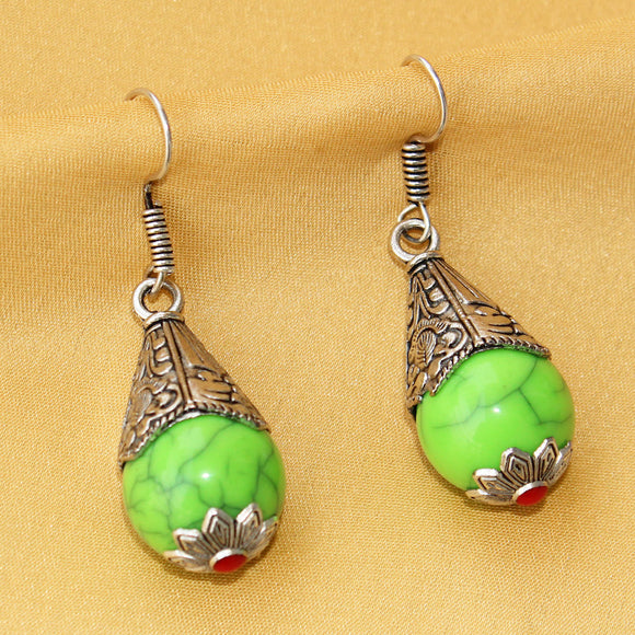 Imeora Oxidised Silver Parrot Green Cone Shape Earrings