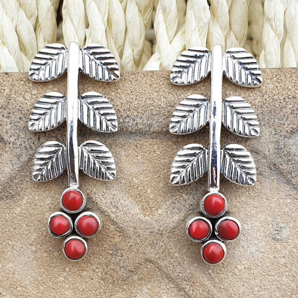 925 Silver Leaf Red Coral Earrings