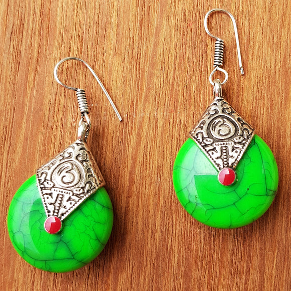 Imeora Oxidised Silver Parrot Green Drop Earrings
