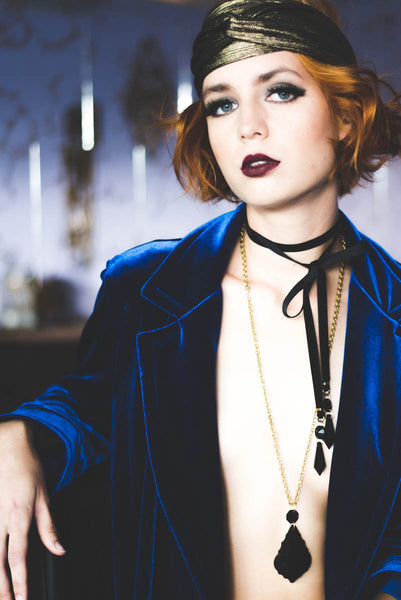 Noir Chandelier Velvet Wrap Necklace