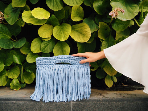 Binge Knitting Handcrafted Fringe Clutch