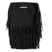 Handcrafted Clutch in Black with Fringe made from upcycled cotton by Binge Knitting