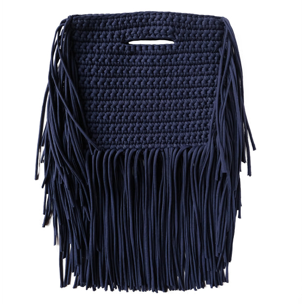 Handcrafted Clutch in Navy with Fringe made from upcycled cotton by Binge Knitting