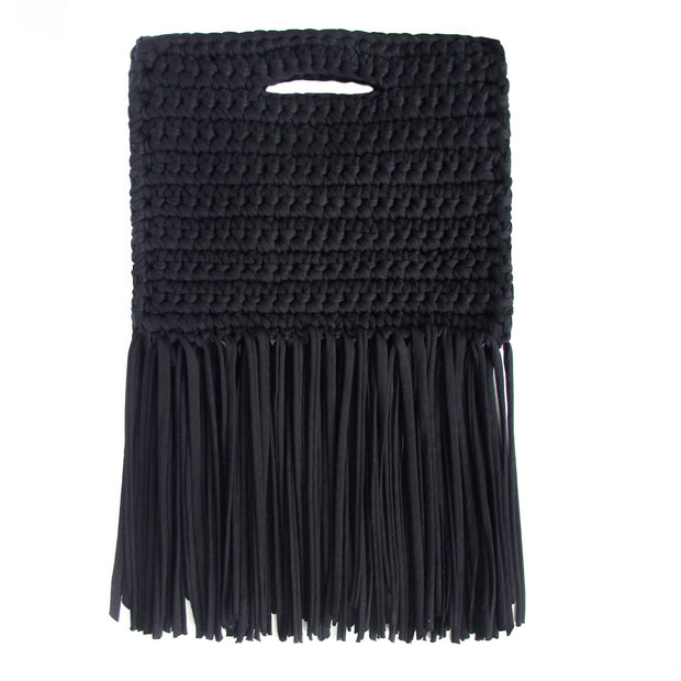 Handcrafted Clutch in Denim with Fringe made from upcycled cotton by Binge Knitting