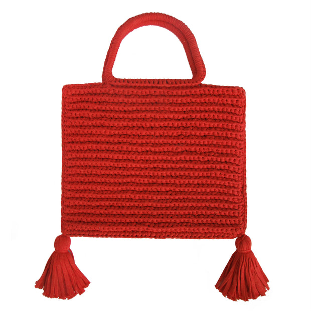 Handcrafted Cotton Tassel Tote bag in Red by Binge Knitting