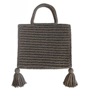 Handcrafted Cotton Tassel Tote bag in Taupe by Binge Knitting